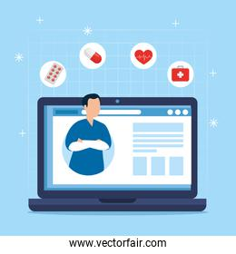 medicine online technology with paramedic and laptop