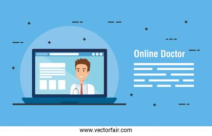medicine online technology with doctor and laptop