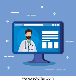 medicine online technology with computer and doctor