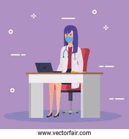 doctor female with face mask in desk