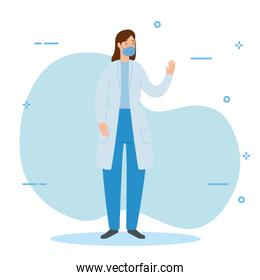 doctor female with face mask avatar character