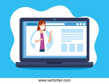 medicine online technology with doctor female and laptop