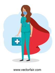 super female paramedic with hero cloak and first aid kit