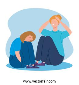 women sitting in floor with stress attack