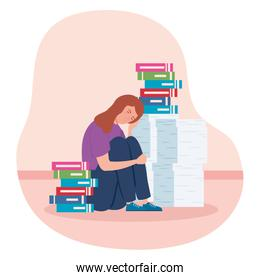 woman sitting with stress attack and stack documents