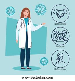 doctor female with recommendations of 2019 ncov