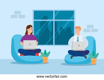 couple working in telecommuting sitting in pouf