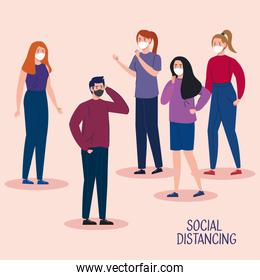 campaign of social distancing for covid 19 with people using face mask