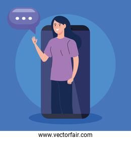 woman in video conference in smartphone