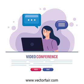 woman in video conference in laptop
