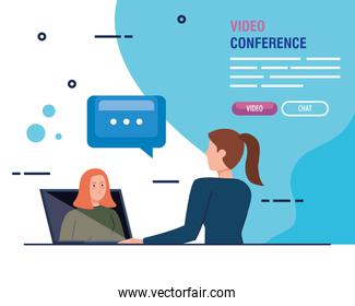 young women in video conference in laptop