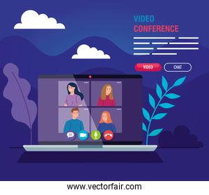 young people in video conference in laptop