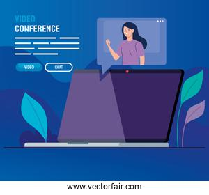 young woman in video conference in laptop