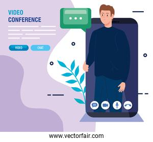 young man in video conference in smartphone
