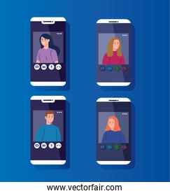 young people in video conference in smartphones