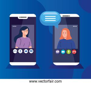 young women in video conference in smartphones