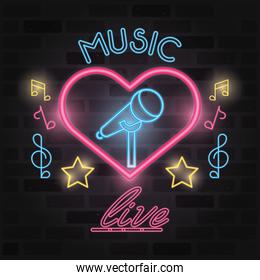 music live label neon lights