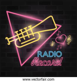 radio music record label neon lights