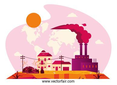global warming alert with polluting factory