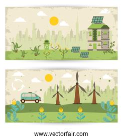 save the nature campaign with landscapes scenes