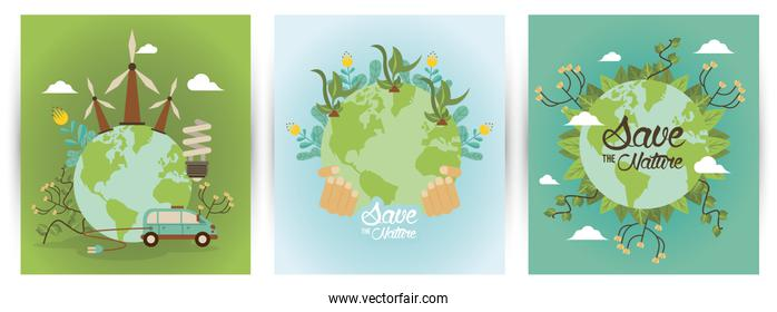 save the nature campaign with world planets