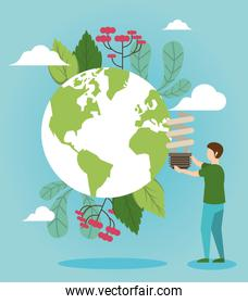 save the nature campaign with man and world planet