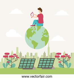 save the nature campaign with man and world planet scene