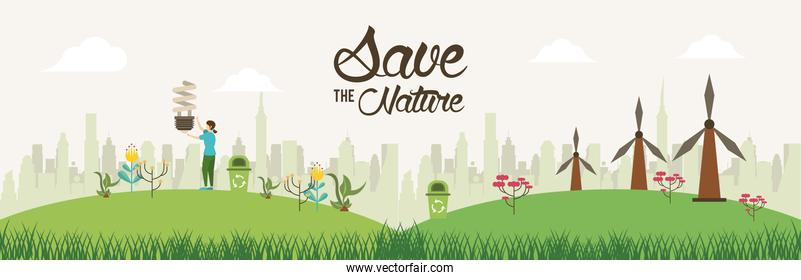 save the nature campaign with woman in landscape scene