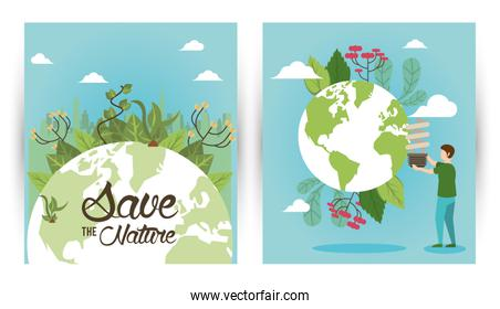 save the nature campaign with people and world planets