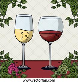 wine cups with grapes fruits