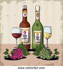 wine cups and bottles with grapes fruits
