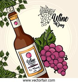 wine bottle drink with grapes fruits