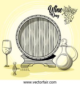 wine barrel drink with jar and cup