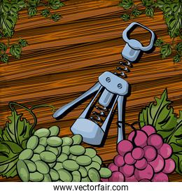 wine corkscrew tool with grapes fruits