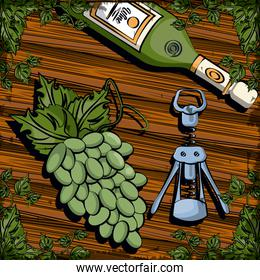wine bottle drink with corkscrew and grapes
