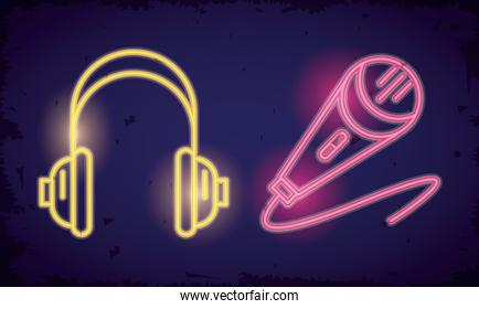 microphone sound and earphones neon lights