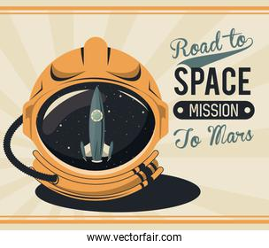life in the space poster with astronaut helmet