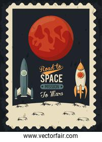 life in the space poster with mars and rockets