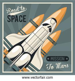 life in the space poster with spaceship