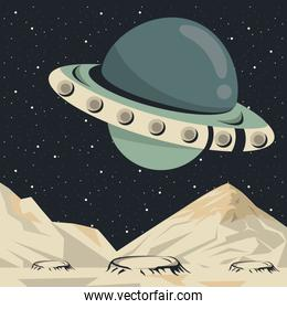 space scene poster with ufo flying
