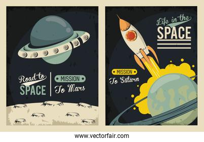 life in the space poster with ufo flying