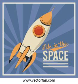 life in the space poster with rocket start up