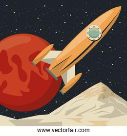 space scene poster with rocket start up