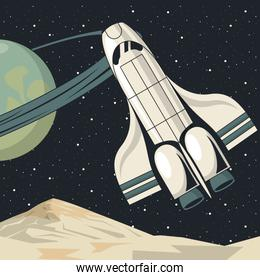 space scene poster with spaceship flying