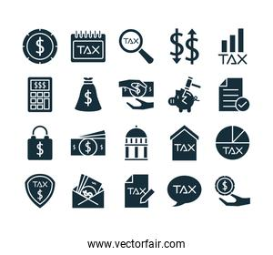 bundle of taxes set silhouette style icons