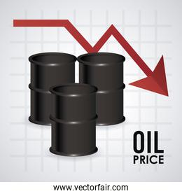 oil price infographic with barrels and arrow