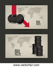 oil price infographic with barrels and earth maps