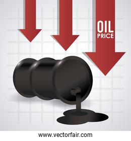 oil price infographic with barrels and arrows