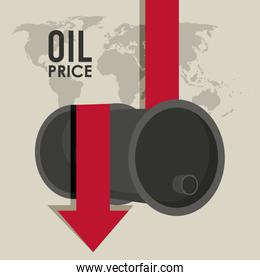 oil price infographic with barrels and earth planet