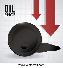 oil price infographic with barrel and arrows